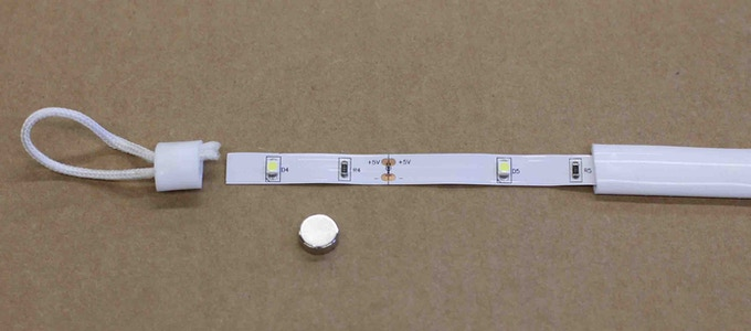 Luminoodle is made with twenty six, 7 lumen 3528 LED lights on a custom 5V LED strip.