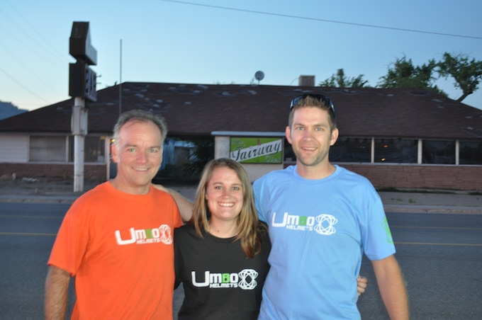 Umbo Founders on their way to unveil the helmet at CrossVegas! From Left to Right: Clint, Bethany, and Nate