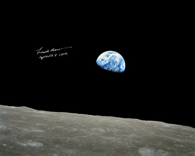Apollo 8 Earthrise Signed by Frank Borman
