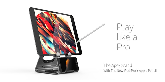 3D CAD View of the new iPad Pro + Apple Pencil with The Apex Stand