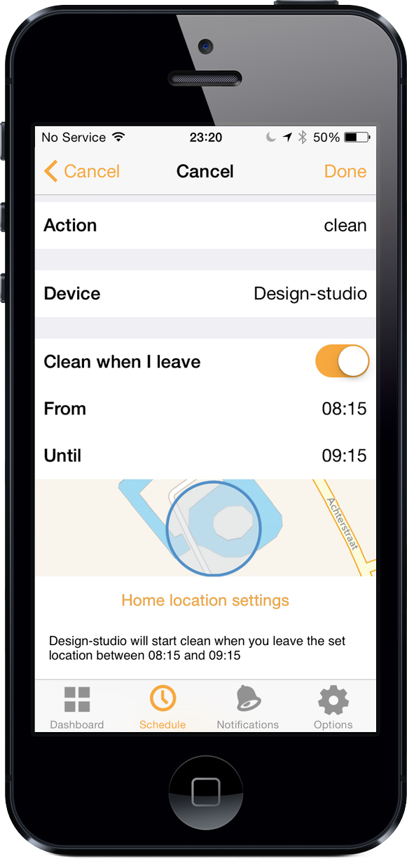 'Clean when I leave' planned in schedule on iOS.