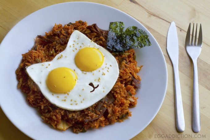 Kimchi Fried Rice with Eggs on Top