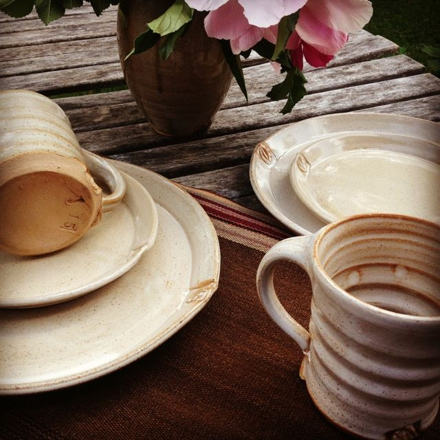 silky grey tableware - click on the photo to learn more about the seed motif