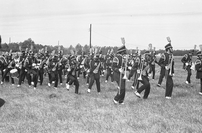 The North Carolina A & T University marching band performs at the Soul City groundbreaking.