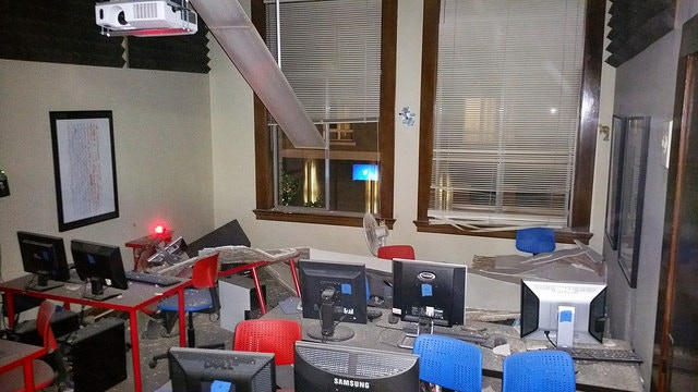 Our classroom after the disaster. No one was hurt, but we still don't know why the ceiling collapsed.