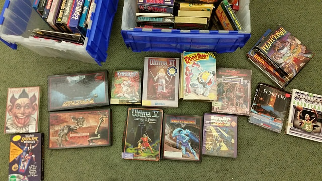 A typical donation of Amiga games.