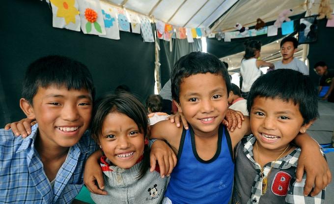 Children at Chucepati camp. Photo credit UNICEF Nepal, C S Karki
