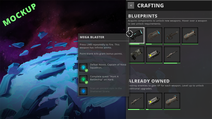 This screen will track your progress toward unlocking and upgrading your weapons and special abilities.
