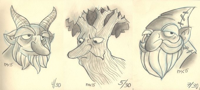 3 of the 30 sketches