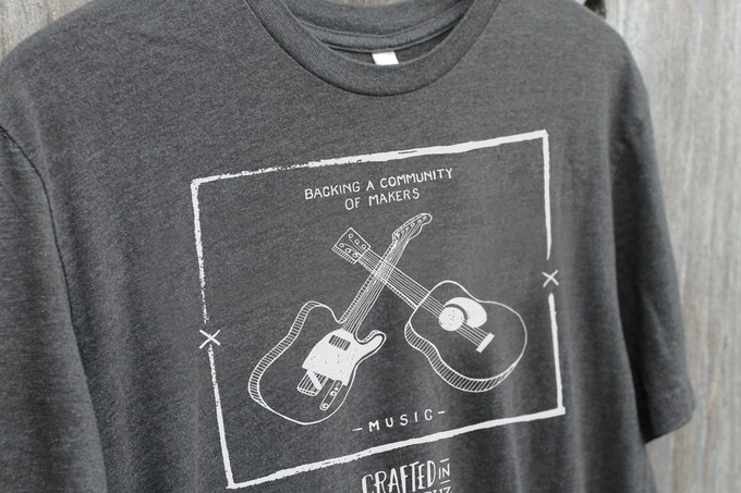 MUSIC - our acoustic-electric illustrated t-shirt