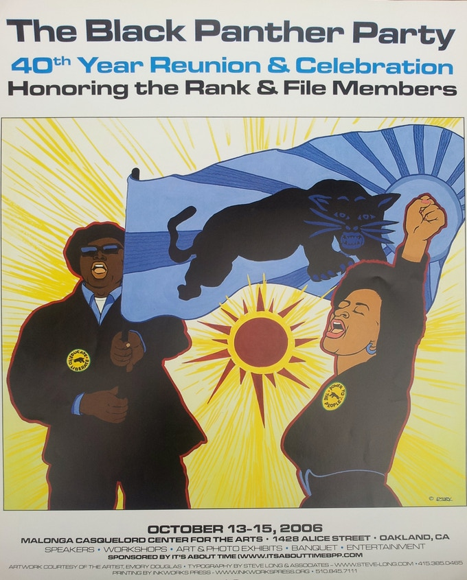 Black Panther Party 40th Anniversary Commemorative poster by Emory Douglas.