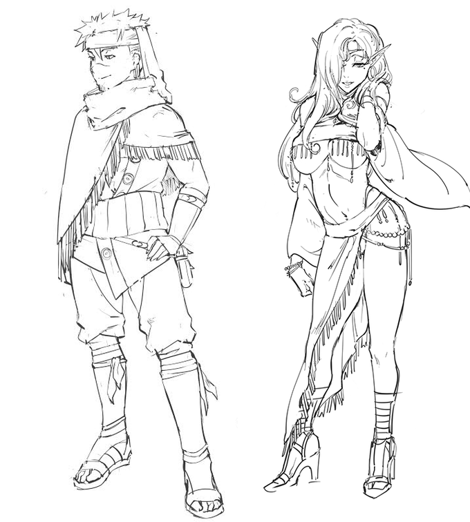Human Adventurer on the left, Human-Sieubian hybrid Courtesan on the right.