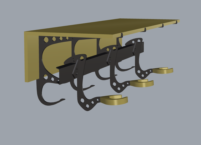 Rendering of finished design pictured with three guitar accessories