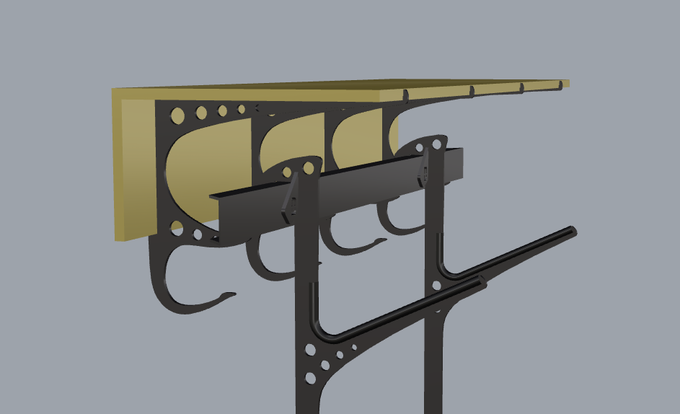 Rendering of finished design pictured with ski and board accessory