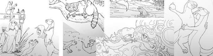 Some of the black and white line art from the book, before adding color.