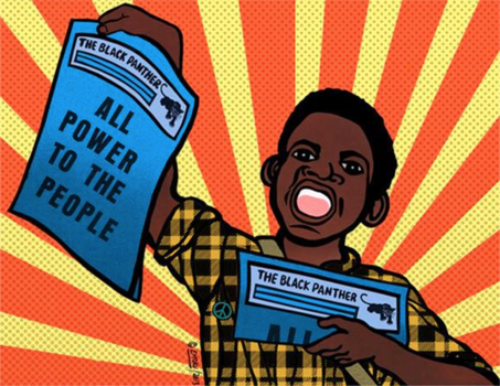 """""""ALL POWER TO THE PEOPLE"""" signed original full color poster by Emory Douglas, Black Panther Party Artist and Minister of Culture (1967 - 1982). High quality paper, suitable for framing - 2 sizes 12x15 and 17x21"""