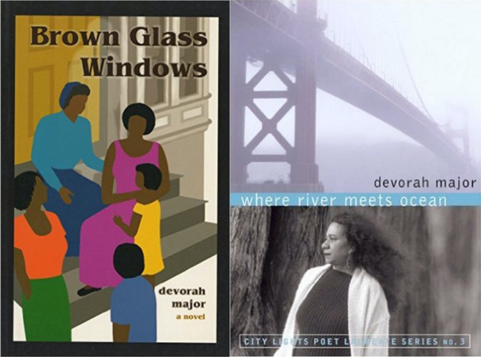 """Books by Devorah Major, former San Francisco Poet Laureate - """"Brown Glass Window"""" (novel) and """"Where The River Meets the Ocean"""" (poetry collection)."""