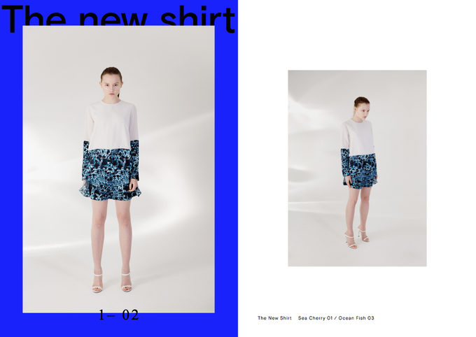 Lookbook Picture of The New Shirt & Bio Shorts (available in Blue Fish & Sea Cherry print)