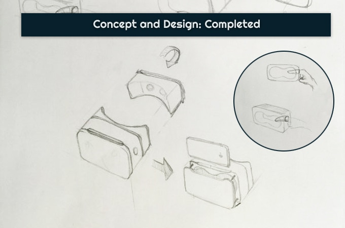 Early in the concept phase, we explored ways to make the headset more portable. One idea had half the chassis being removable and storable in the other half.  We also considered adding a hole to let the user control their phones.