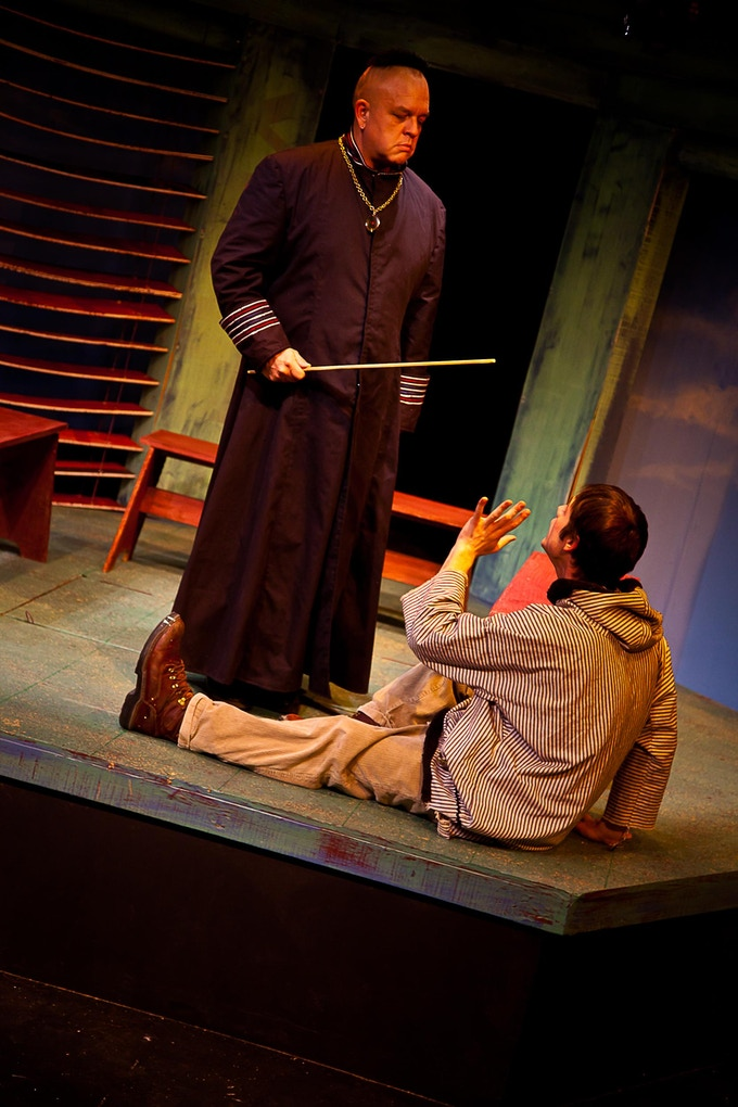 Elder teaches Adam (Ethan Petticrew & Jaron Carlson) his first words in Yup'ik in the 2010 premiere at Cyrano's in Anchorage, Alaska. For a link to the Anchorage Press review, click the pic.