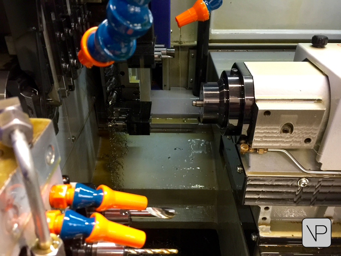 A VertiPen component being made in a sliding head CNC machine