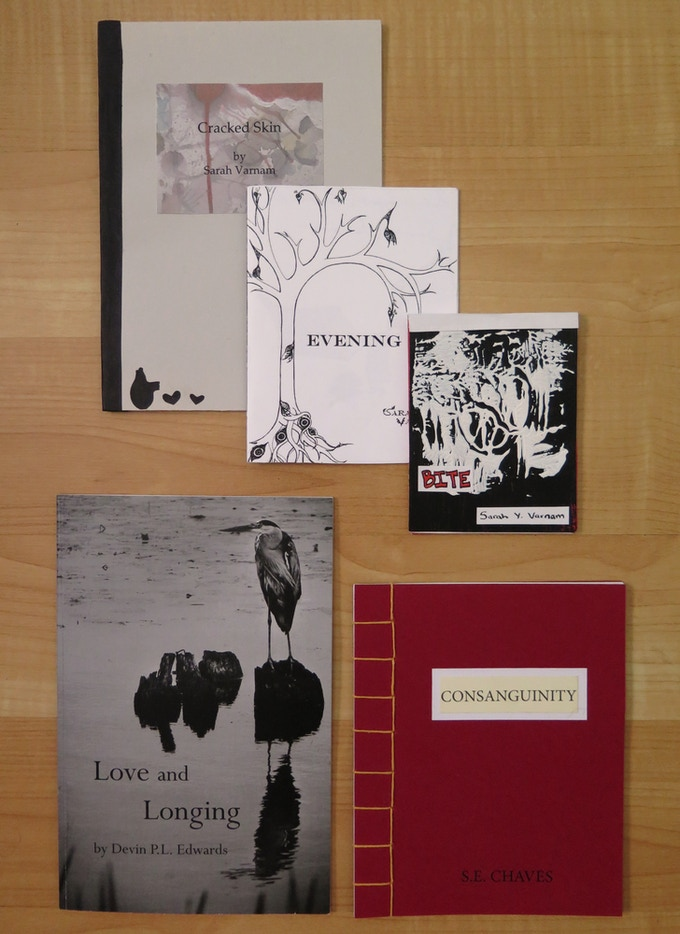 Chapbooks by Sarah Varnam, Devin P.L. Edwards, and Steph Chaves