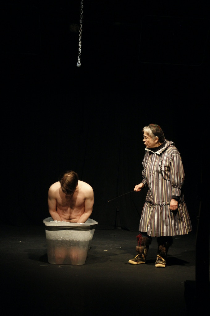 Paul (Jeff Aldrich) being torchered by Elder (Martha Jack) in the 2013 Out North production in Anchorage, Alaska..