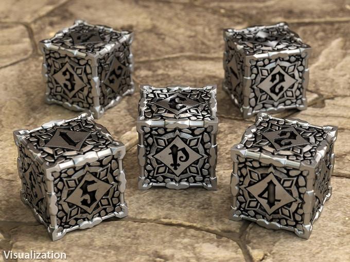 Bundle of 5 Metal Pathfinder D6 dice - visualization