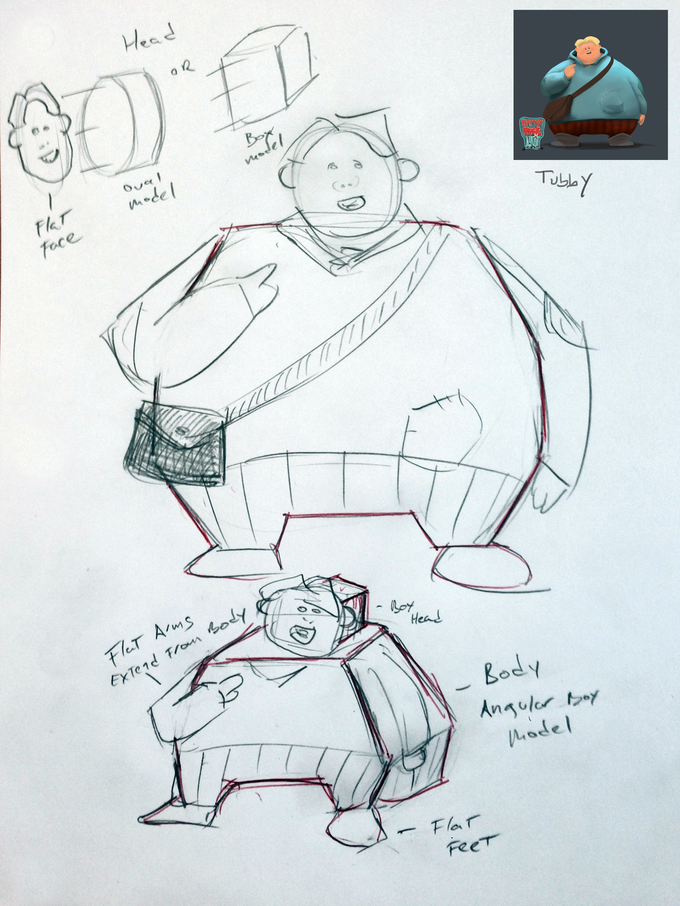 Quick sketch of Tubby papertoy, not final toy