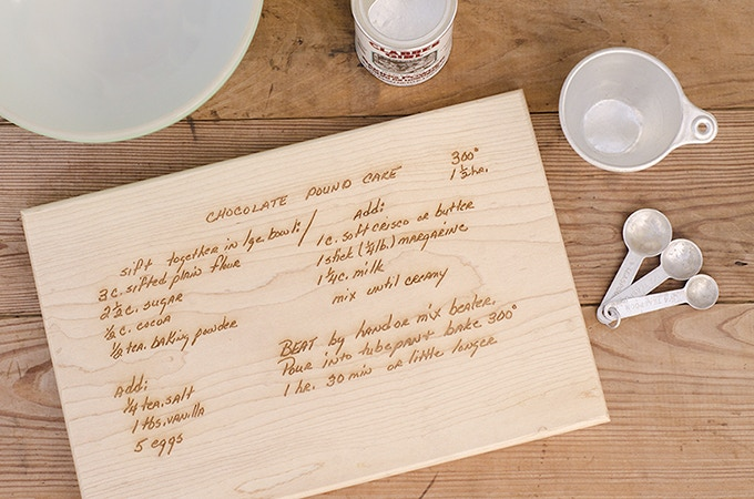 Custom Cutting Board Engraved with YOUR Family Recipe