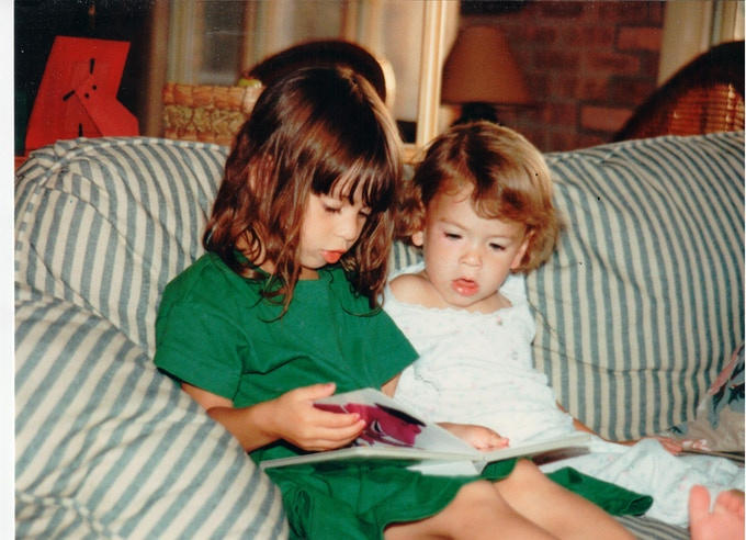 That's us as wee ones! Bea is on the left, Leah is on the right. Barney is getting us excited about reading!