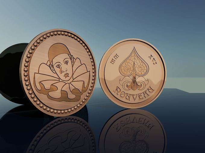"""NOUVEAU Coins (2"""" Antique Brass Coin)"""