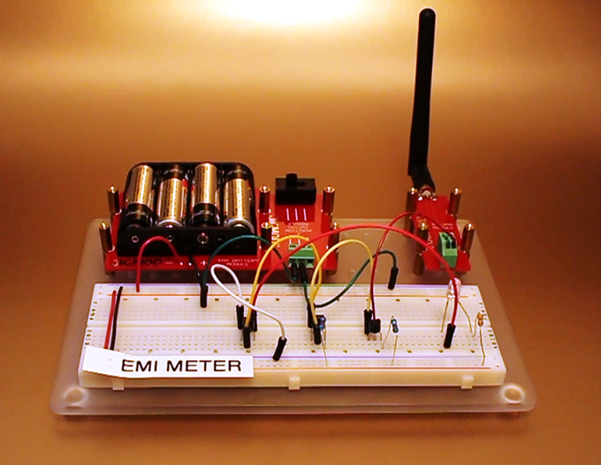 EMI Meter - Detect Electromagnetic Fields in your Home using this Portable Unit using RP-SMA JIGMOD, 2POS Switch JIGMOD, and JIGMOD M Platform
