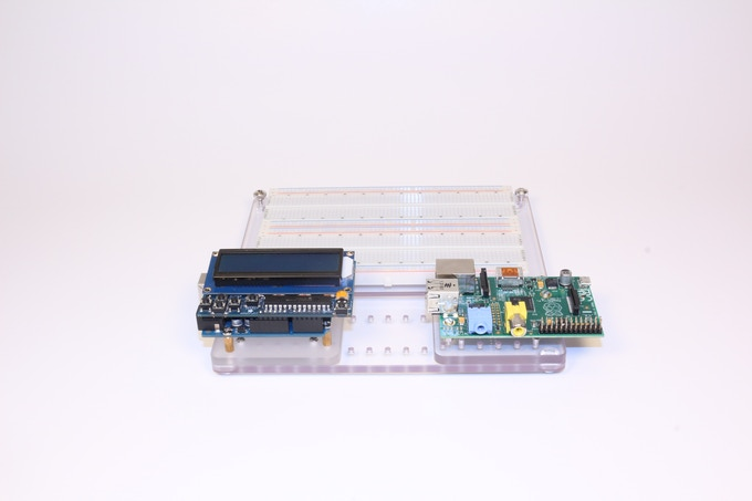 Arduino and Raspberry Pi at your Fingertips using the Arduino Adapter and Raspberry Pi Adapter on the JIGMOD L Platform, along with an optional Breadboard Adapter to swap breadboards in and out.