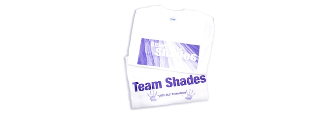 """BETWEEN THE SHADES T-SHIRT Designed and worn by our production team. Help show your support by proudly wearing a double sided """"Between the Shades"""" T-shirt!"""