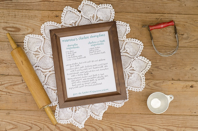 Custom Brush Lettered Printable with YOUR Family Recipe