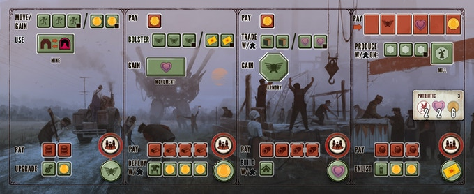 """This is an example of a player mat (""""Patriotic""""). Each player mat is divided into four sections, each with a top-row action and a bottom-row action. Your actions improve as you build your economic engine."""