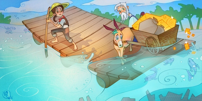 Oh no! The raft is sinking.