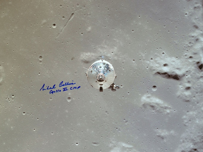 Apollo 11 CSM in Lunar Orbit, signed by CMP Michael Collins