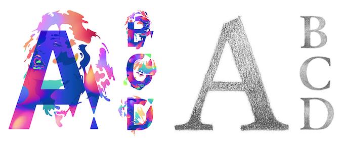 Colored & textured fonts (AlphaWall by Bram Vanhaeren & Sabon HB by Pierre Terrier)