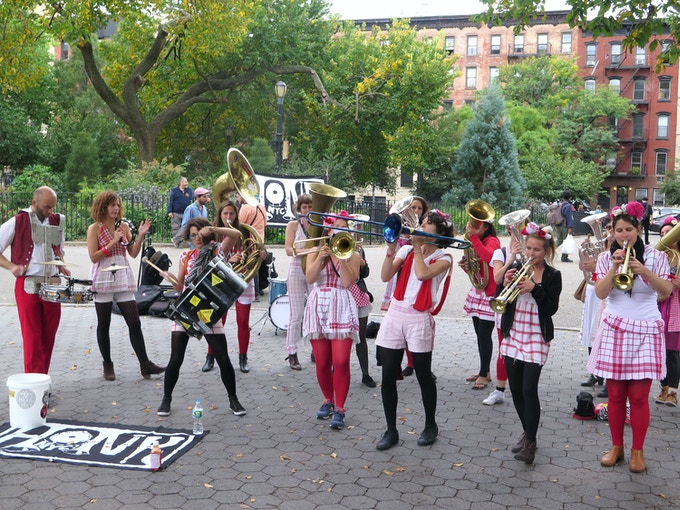 Les Muses Tanguent in Tompkins Square Park, HONK NYC! 2014
