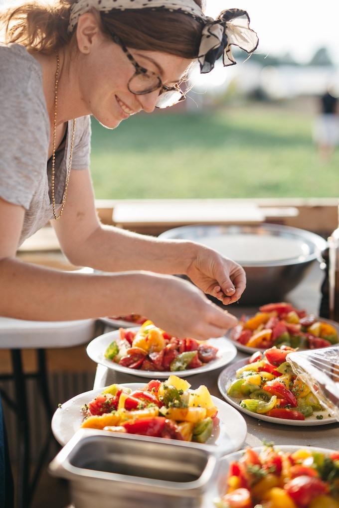 Abby plating tomato salads