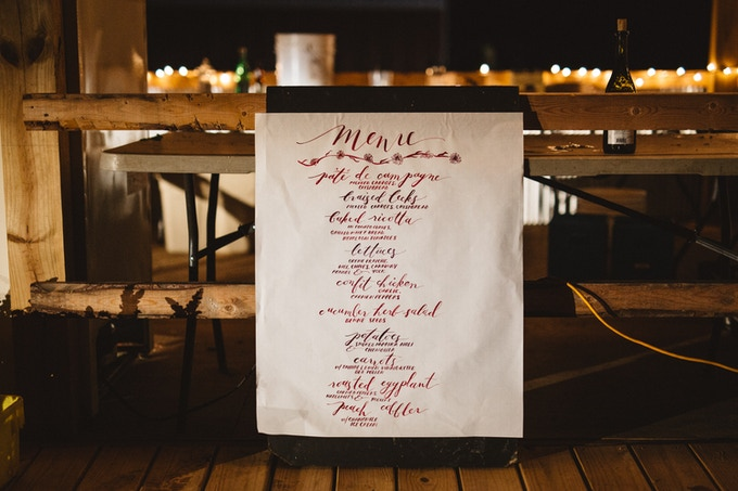 hand drawn menu by our friend Claudia Kimble