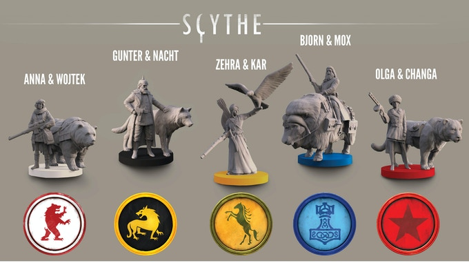 Each player is represented on the board by a character and their animal companion (1 miniature). Each character miniature has a 25mm base and a height of 36-58mm.