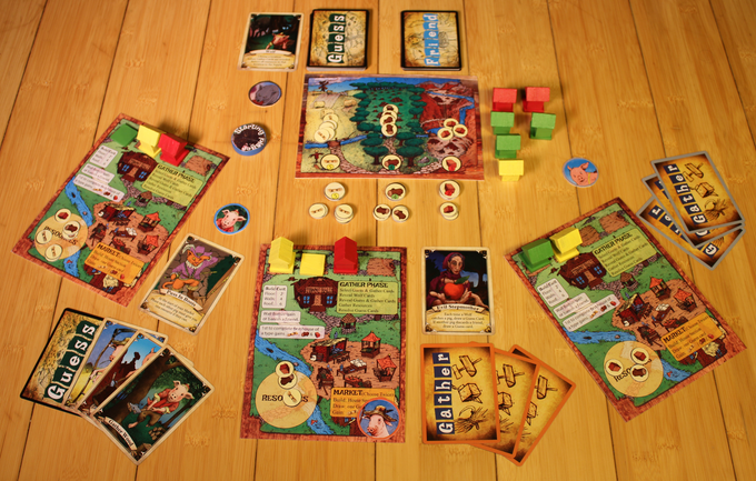 Little Pig game in progress (prototype components)