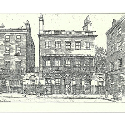 A drawing of Babbage's house.