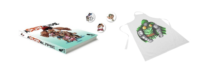 Riblet Ranch Special: Kickstarter Exclusive Hardcover, pin set, and apron with hand drawn artwork on it