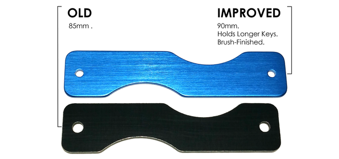 The frame now fits longer keys and comes in a beautiful brush-finish!