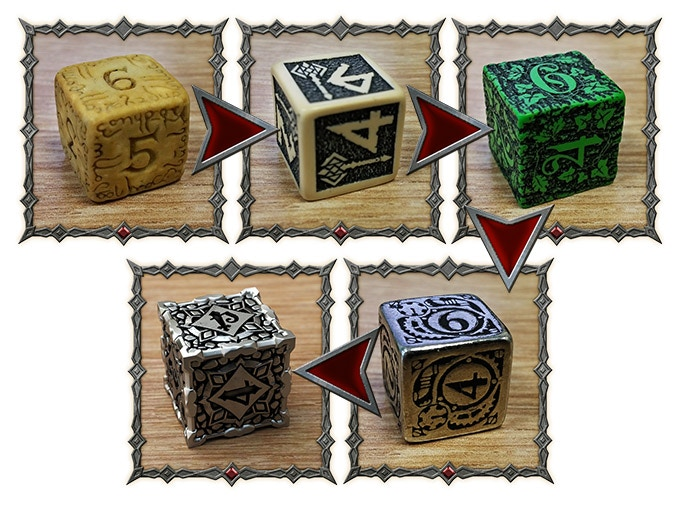 At the top, from the left: First Elven, Dwarven, Forest dice. On the bottom, right to left: Metal Steampunk, Metal Pathfinder (visualization)
