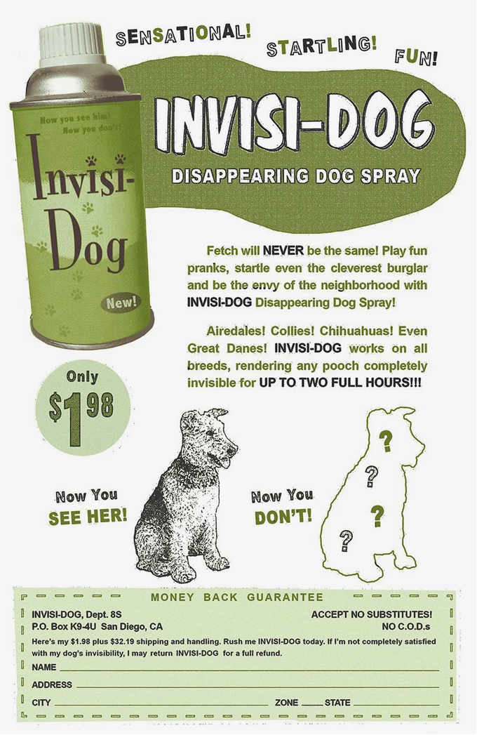 """""""Invisi-Dog"""" - one of the spoof comic book ads that will appear on the back and inside covers of the Kickstarter-exclusive Bar Dog comic book"""